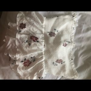 White floral smocked bandeau with tie in back